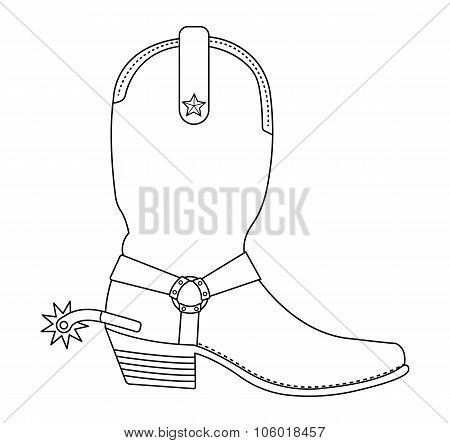 Wild west cowboy boot with spur. Contour