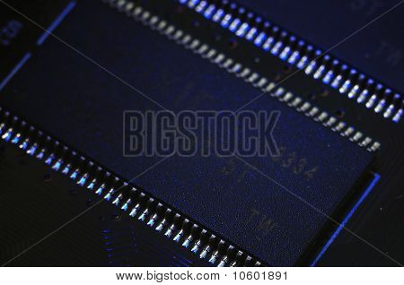 Microcircuit on the printed-circuit board close up