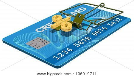 Credit card trap. Bank interest free cheese in mousetrap