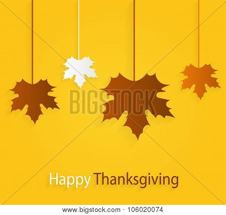 Thanksgiving yellow poster with hanging leaves