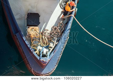 Mooring Operations, Man At Work With Rope