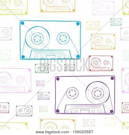 Contours of audio cassettes white