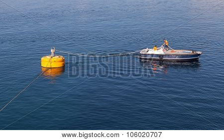 Port Operations, Boat Is Used For Rope Attachment