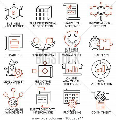 Set of icons related to business management - part 25