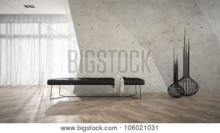 Part of stylish interior with black bench 3D rendering