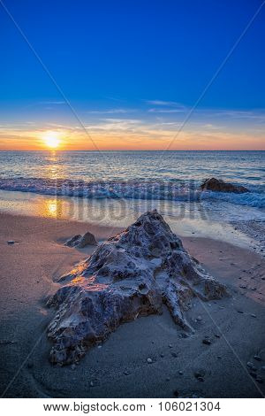 The famous Kathisma beach in Lefkada Greece at sunset