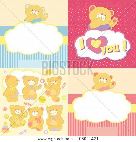 Set teddy bears in different poses.