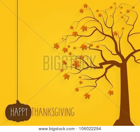 Thanksgiving yellow poster. Tree with maple leaves. Handwritten text