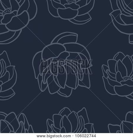 Lotus seamless vector pattern set.