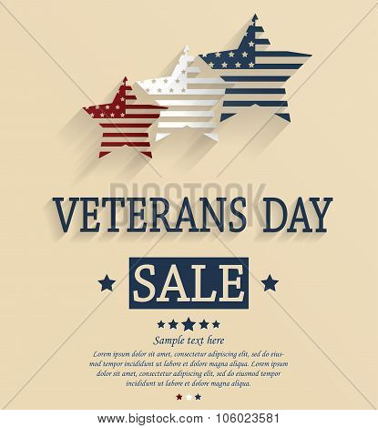 Veterans Day sale card. Red, white and blue stars
