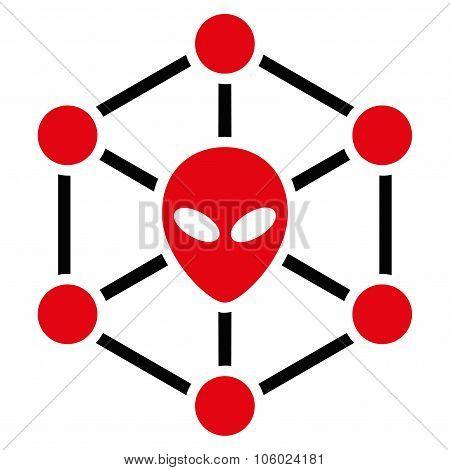 Alien Network Flat Icon