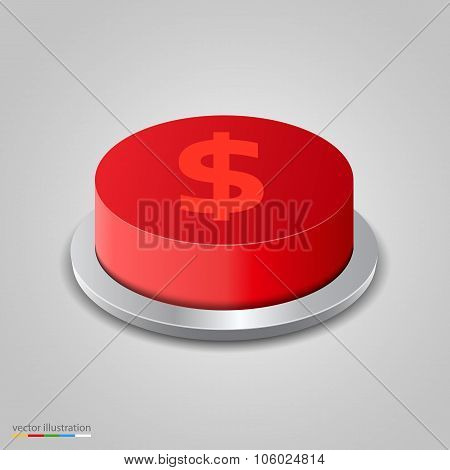 Realistic money button on white background