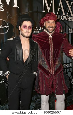 LOS ANGELES - OCT 24:  Maksim Chmerkovskiy, Valentin Chmerkovskiy at the MAXIM Magazine's Official Halloween Party at the Private Estate on October 24, 2015 in Beverly Hills, CA