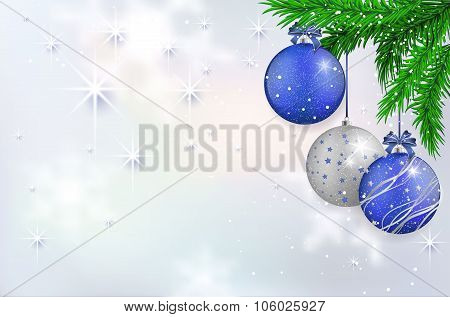Christmas Card With Blue Balls And Spruce