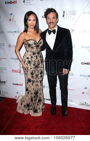 LOS ANGELES - OCT 25:  Cheryl Burke, George Kotsiopoulos at the Internation Film Fashion Awards at the Saban Theater on October 25, 2015 in Los Angeles, CA