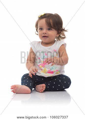 Adorable Young Caucasian Girl Looking Away