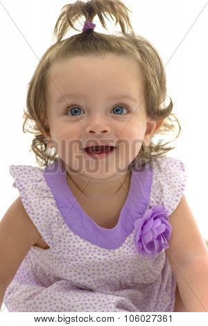 Adorable Blue Eyes Of Young Caucasian Girl