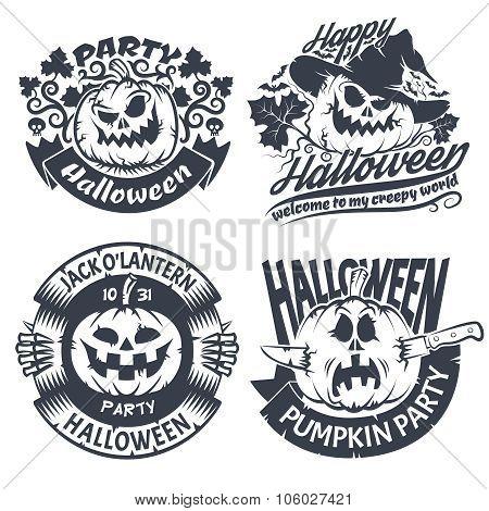 Halloween emblem set