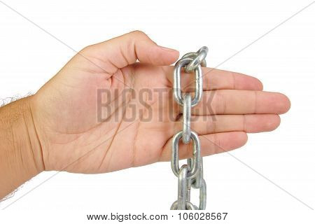 Hands with chain isolated on white background