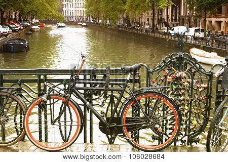 Amsterdam, City Of Bikes. Day Light During The Rain.