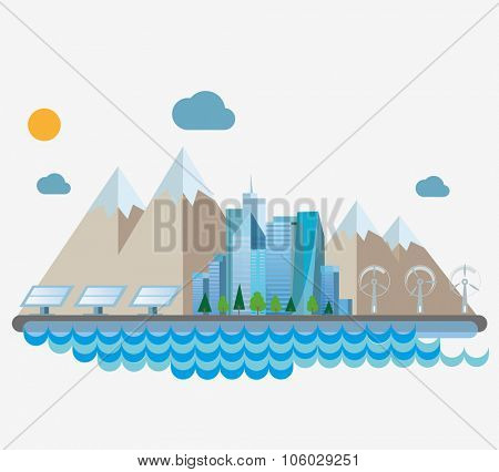 Eco concept flat illustration. City on the shore.