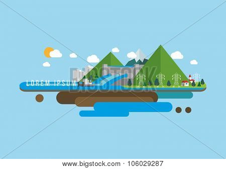 Renewable energy river hydro power station. Vector illustration.