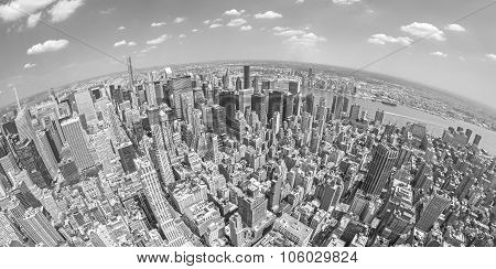 Black And White Fisheye Lens View Of Manhattan, Nyc.