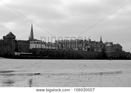 Saint Malo Beach In Black And White