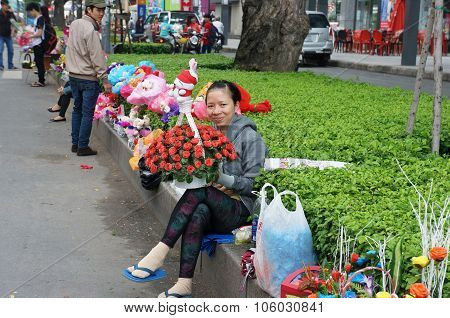 Vietnamese Street Vendor, Flower Outdoor Market
