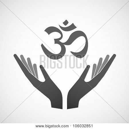 Two Hands Offering An Om Sign