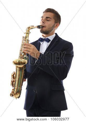 Elegant happy saxophonist plays music on sax on white background