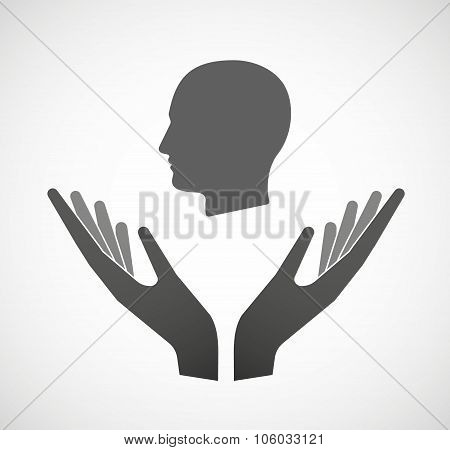 Two Hands Offering A Male Head