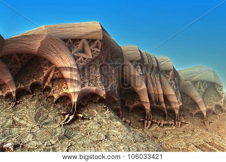 Alien planet sci-fi background. 3D digitally rendered illustration