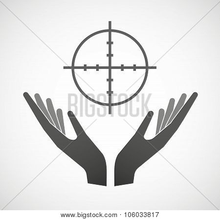 Two Hands Offering A Crosshair