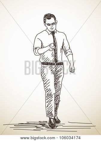 Sketch of walking Man with smart phone, Hand drawn illustration