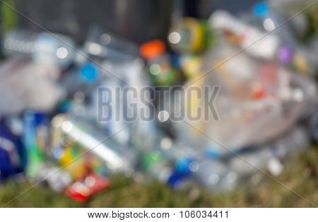 Blurred Photo Of Plastic Bottles Pile, Concept Of Plastic Recycle.pol