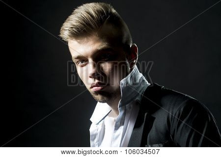 Young Bearded Popped Collar Man