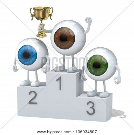 Eyeballs With Winner Cup On Sports Victory Podium