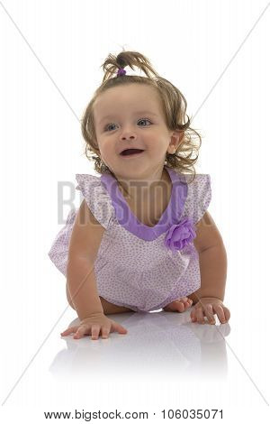 Adorable Crawling Young Caucasian Girl