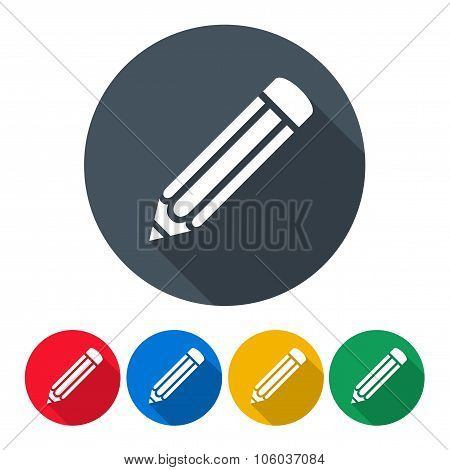 Pencils Icons Set In The Style Flat Design