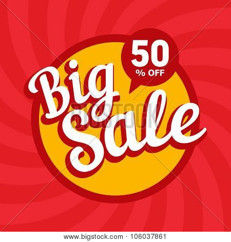 Big sale of 50 percent. Vector background.