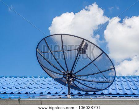 Satellite Dish Transmission Data On Blue Sky Background.satellite Dish Communication.