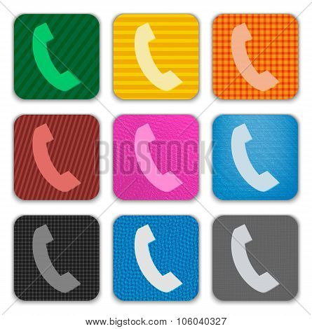 Phone Handset Sign On Colorful App Icons