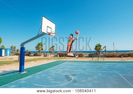 Lefty Slam Dunk On The Beach