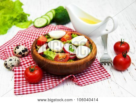 Spring Salad With Eggs, Cucumbers And Radish