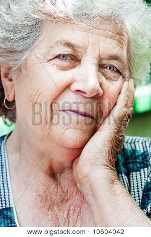 Happy Content Senior Old Woman