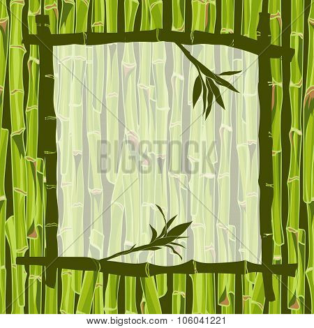 Hand-drawn green bamboo frame bacground with space for text