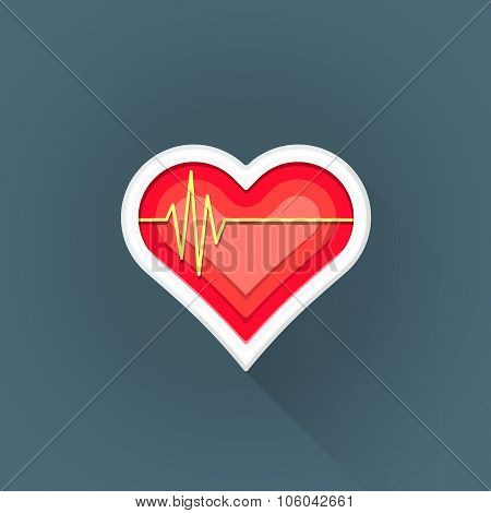 Vector Flat Cardiac Medicine Symbol Illustration Icon.