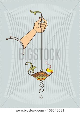 Diya In Hand Ornamental Design Vector Art