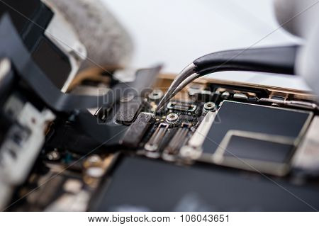Smartphone components close-up.